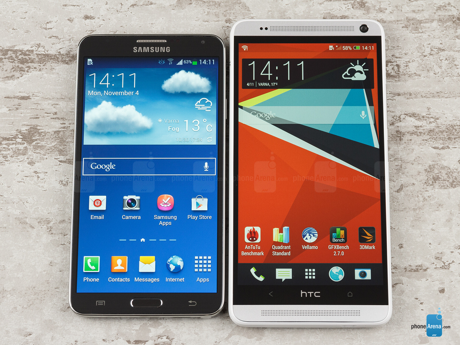 htc one max vs samsung galaxy note 3 phonearena. Black Bedroom Furniture Sets. Home Design Ideas