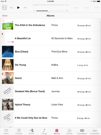 Music player of the Apple iPad mini 2 - LG G Pad 8.3 vs Apple iPad mini 2 with Retina Display