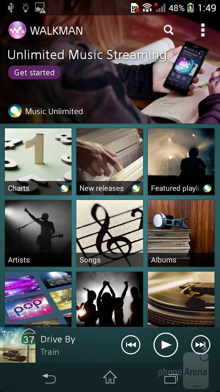 Music player of the Sony Xperia Z1 Compact - Sony Xperia Z1 Compact vs Samsung Galaxy S4