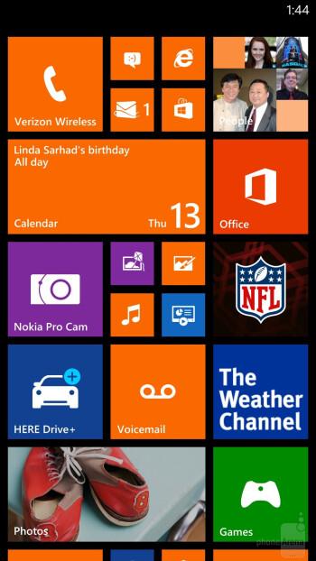 Interface of the Nokia Lumia Icon - Nokia Lumia Icon vs Apple iPhone 5s
