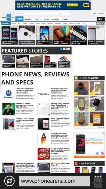 Browser of the Nokia Lumia Icon - Nokia Lumia Icon vs Apple iPhone 5s