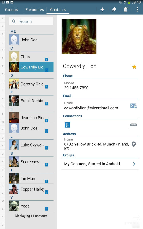 The Contacts app