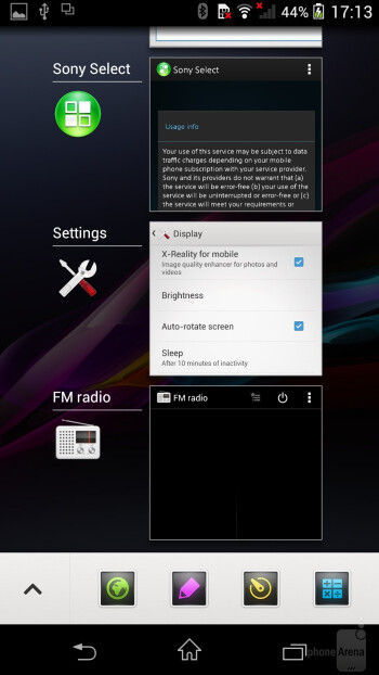 The interface of the Sony Xperia Z1 - LG G Pro 2 vs Sony Xperia Z1