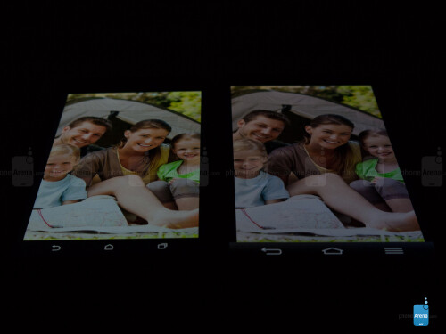 HTC One (M8) - left; LG G2 - right