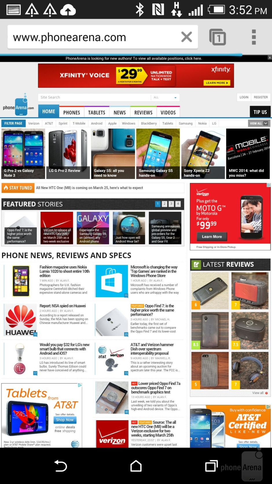 The web browser of the HTC One (M8) - Samsung Galaxy Note 4 vs HTC One (M8)