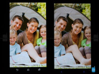 Viewing angles of the  HTC One (M8) - left; HTC One (M7) - right