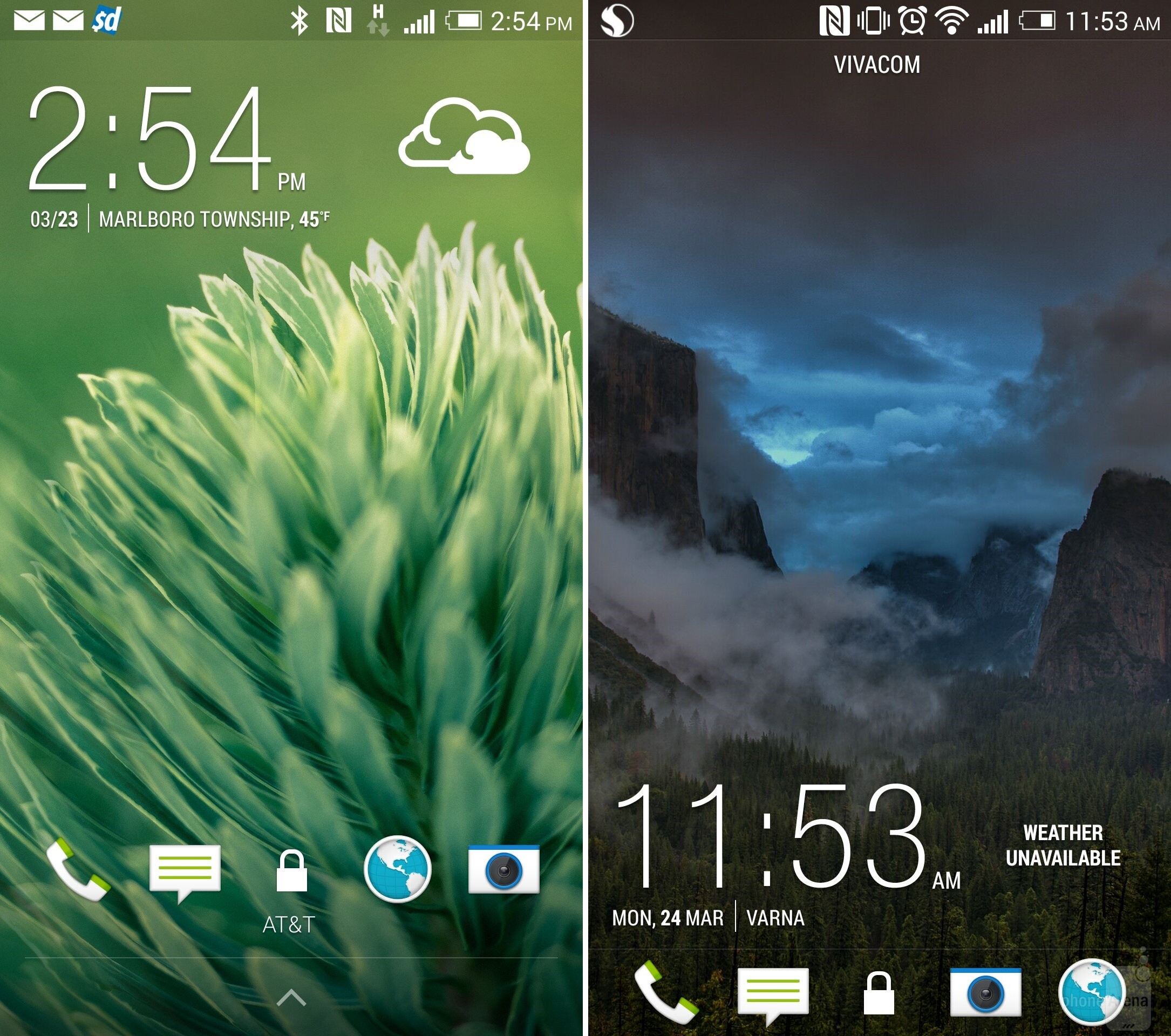 UI of the HTC One (M8) - left; HTC One (M7) - right