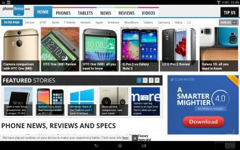 Browser of the Sony Xperia Z2 Tablet - Sony Xperia Z2 Tablet vs Samsung Galaxy NotePRO 12.2