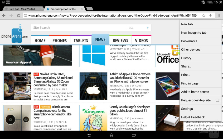 Browser of the Sony Xperia Z2 Tablet - Sony Xperia Z2 Tablet vs Apple iPad Air