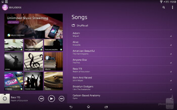Music player of the Sony Xperia Z2 Tablet - Sony Xperia Z2 Tablet vs Samsung Galaxy NotePRO 12.2