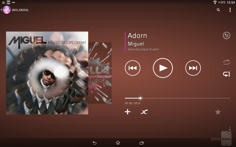Music player of the Sony Xperia Z2 Tablet - Sony Xperia Z2 Tablet vs Apple iPad Air