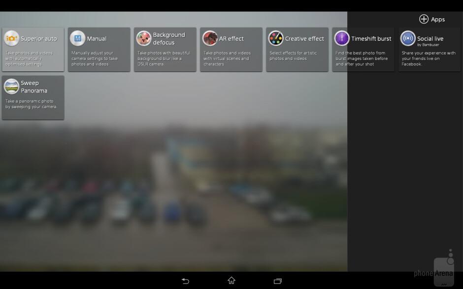 Camera UI of the Sony Xperia Z2 Tablet - Sony Xperia Z2 Tablet vs Apple iPad Air