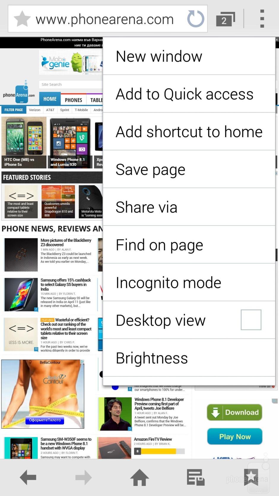 Browsing the web on the Samsung Galaxy S5 - Samsung Galaxy S5 vs Nokia Lumia 1520