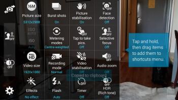 The camera app of the Samsung Galaxy S5 - Samsung Galaxy S5 vs Nokia Lumia 1520