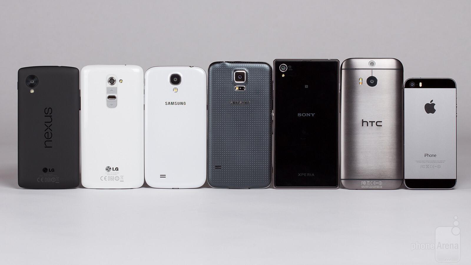 lg g2 vs samsung galaxy s4 vs htc one vs iphone 5