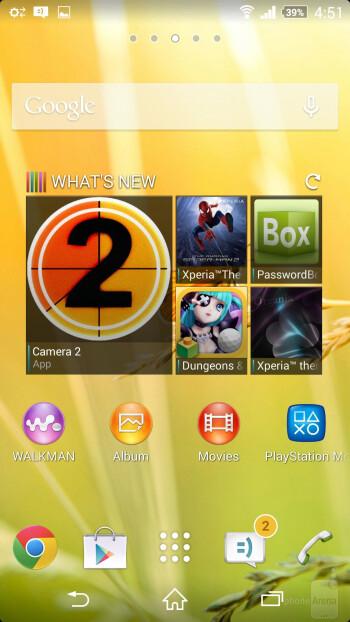 User interface of the Sony Xperia Z2 - Sony Xperia Z2 vs Samsung Galaxy S5