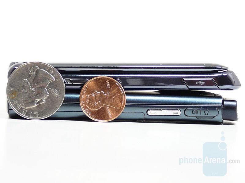 Bottom - SGH-U600, Top - RAZR2 V8 - Motorola RAZR2 V8 compared to Samsung SGH-U600 - Motorola RAZR2 V8 Preview
