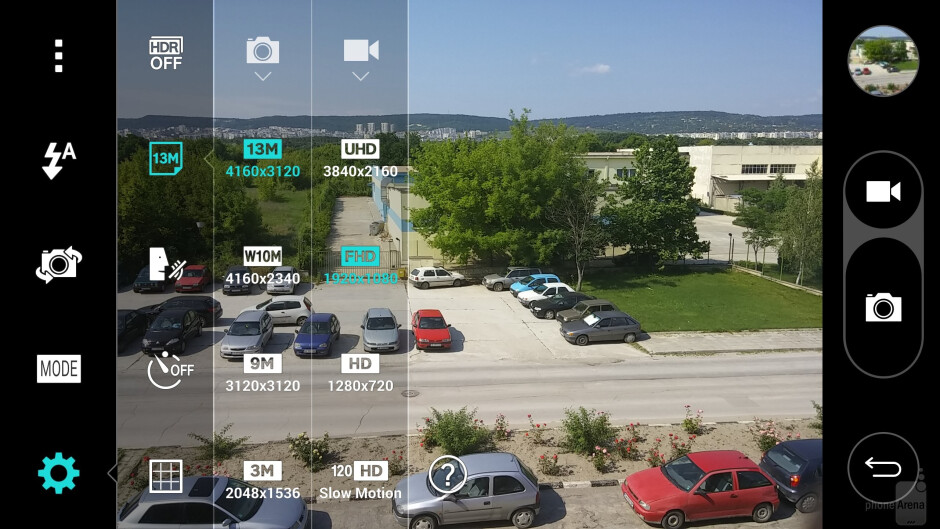 Camera UI of the LG G3 - LG G3 vs Samsung Galaxy S5