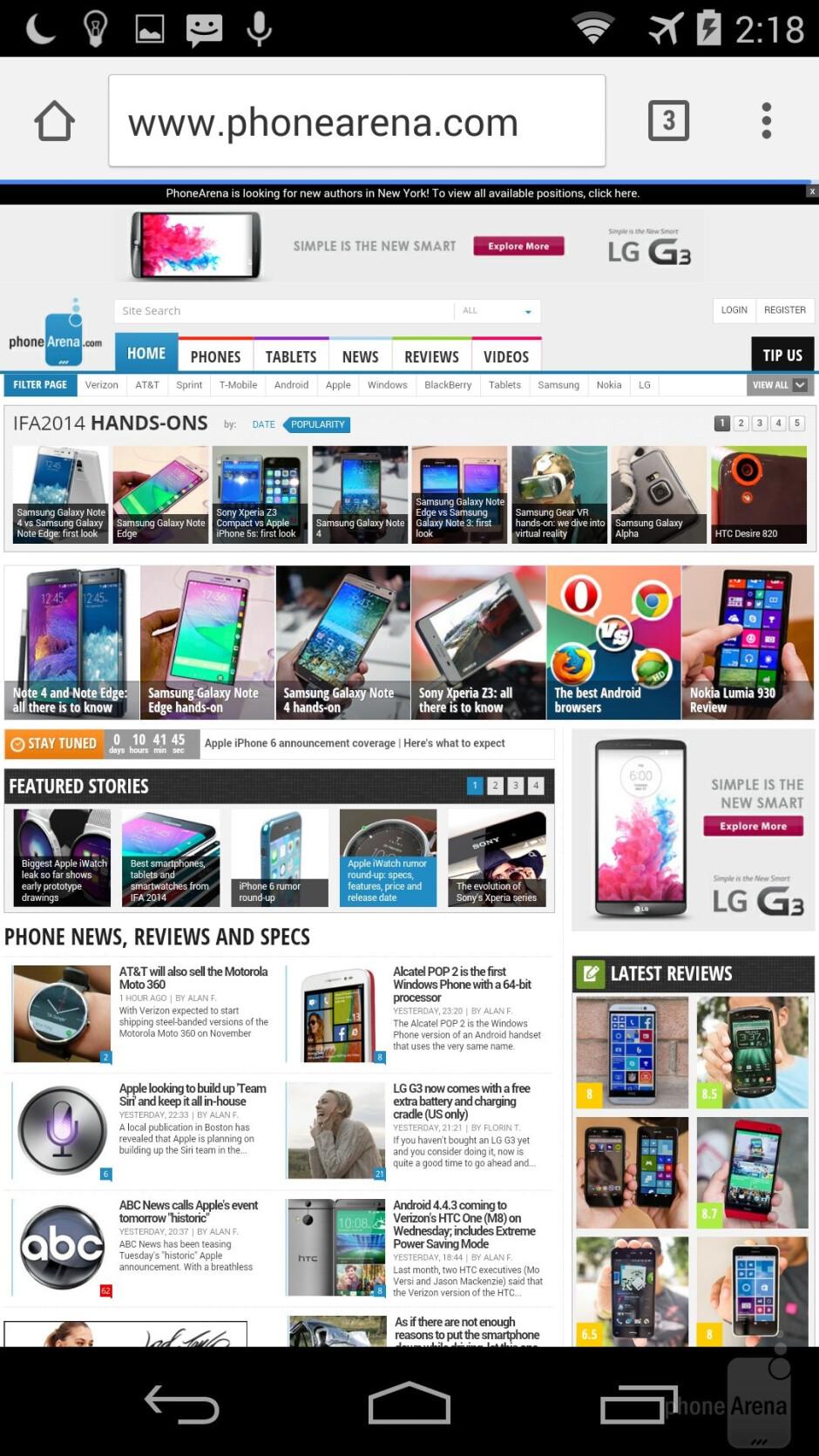 Motorola Moto X - Web browsers - Apple iPhone 6 vs Motorola Moto X 2014