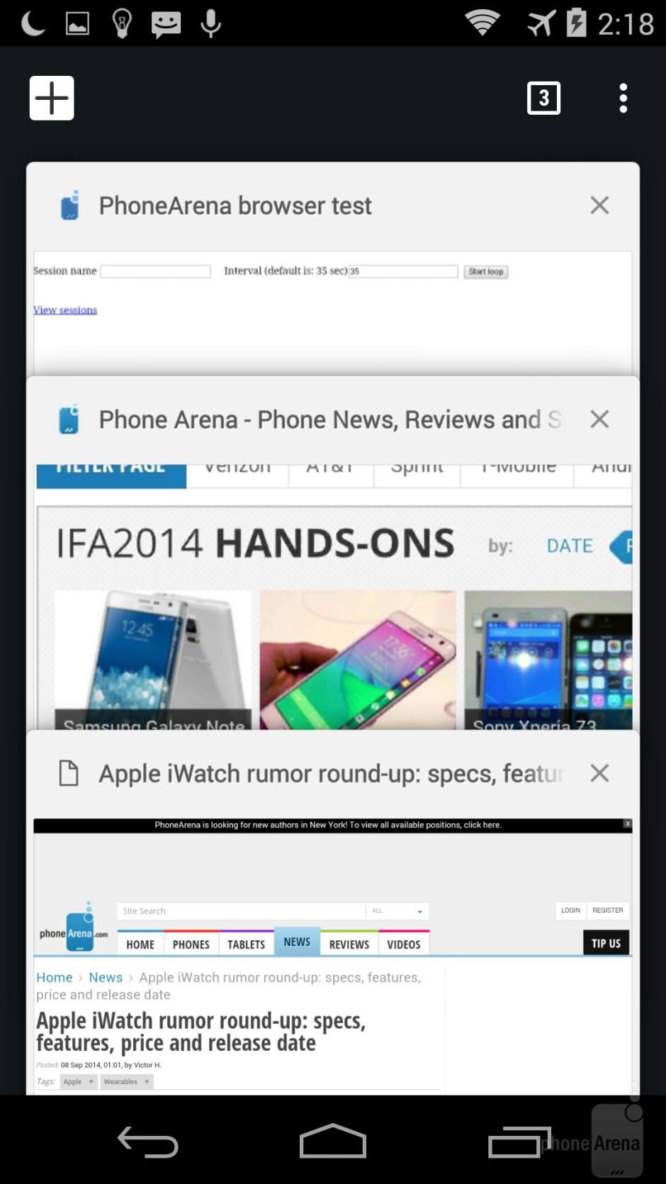 Web browsers - Apple iPhone 6 vs Motorola Moto X 2014