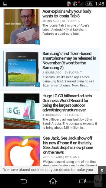 Chrome on the Sony Xperia Z3 - Samsung Galaxy S6 vs Sony Xperia Z3