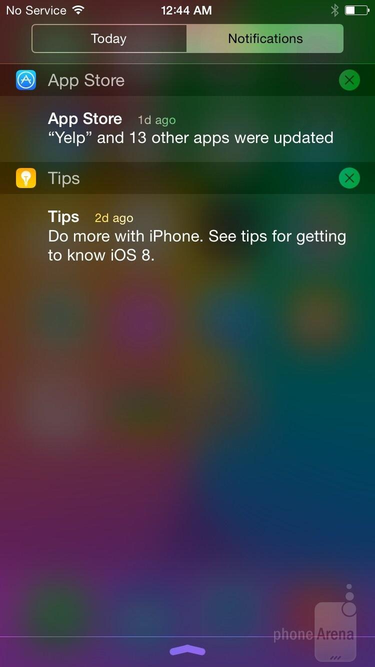 The iOS 8 UI of the Apple iPhone 6 - Apple iPhone 6 vs Motorola Moto X 2014