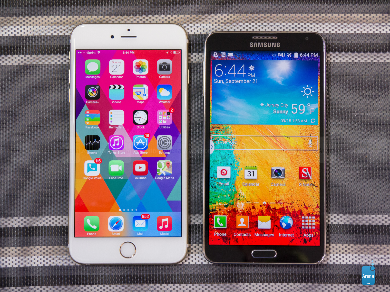 Samsung note 3 vs iphone 6 plus size comparison