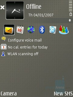 Home screen - Nokia E65 Review