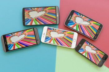 Screen comparison: iPhone 6 vs Galaxy S5 vs G3 vs One (M8) vs iPhone 5s