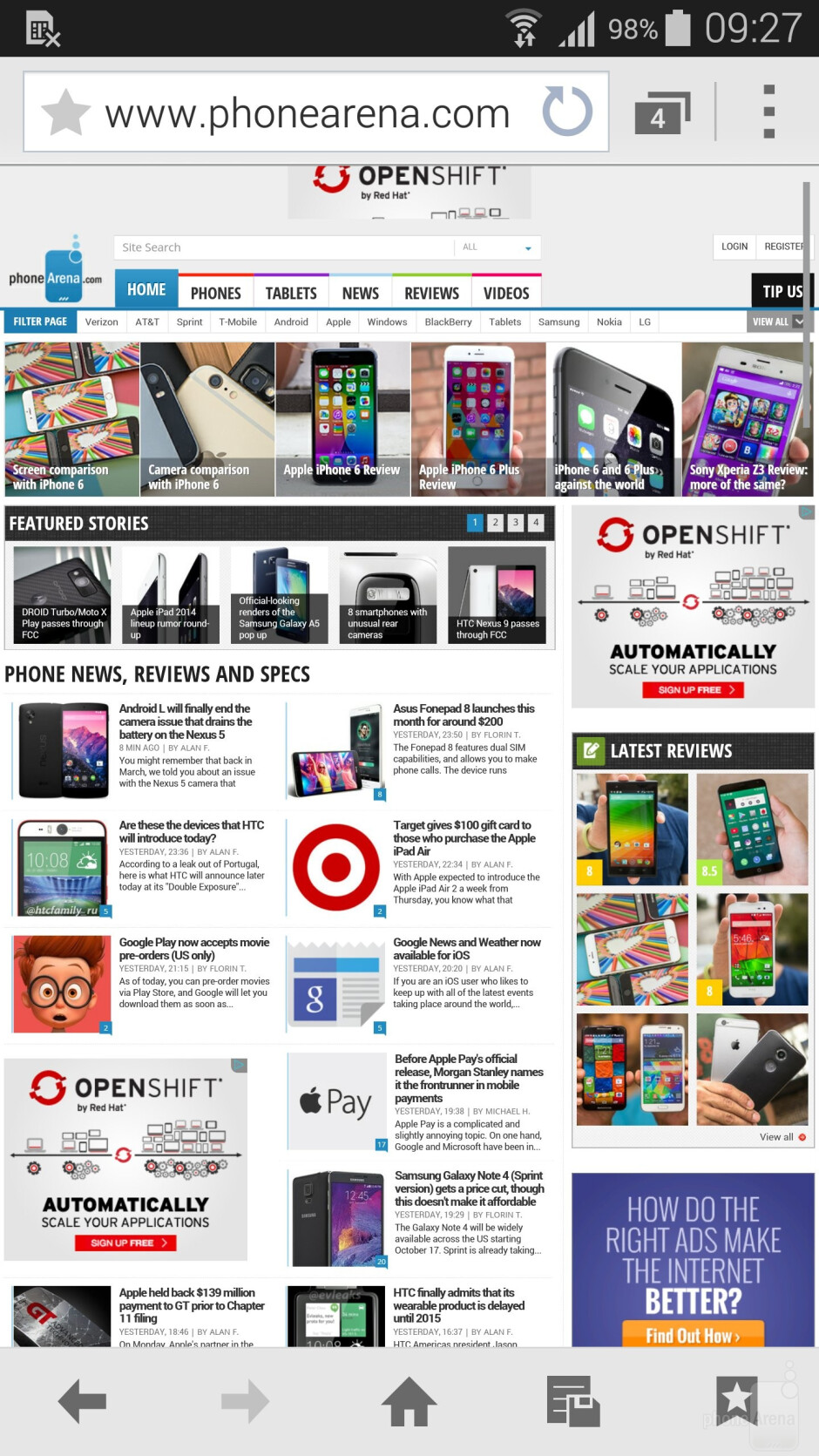 Web browsing on the Samsung Galaxy Note 4 - Samsung Galaxy Note 4 vs HTC One (M8)