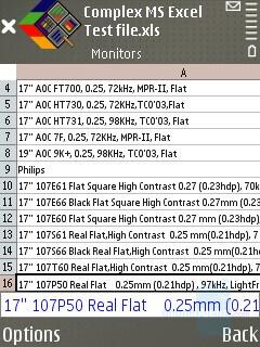 Excel sheet - Nokia E65 Review