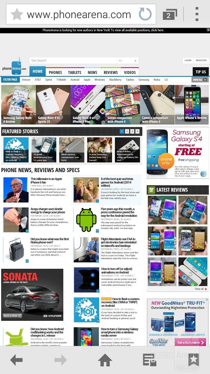 Samsung's TouchWiz browser - Samsung Galaxy Alpha vs Sony Xperia Z3 Compact