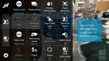 Camera interface of the Samsung Galaxy Alpha - Samsung Galaxy Alpha vs Samsung Galaxy S5