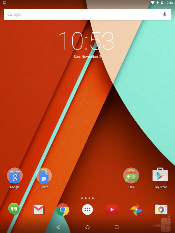 The Android 5.0 UI of the Google Nexus 9 - Google Nexus 9 vs Apple iPad Air 2