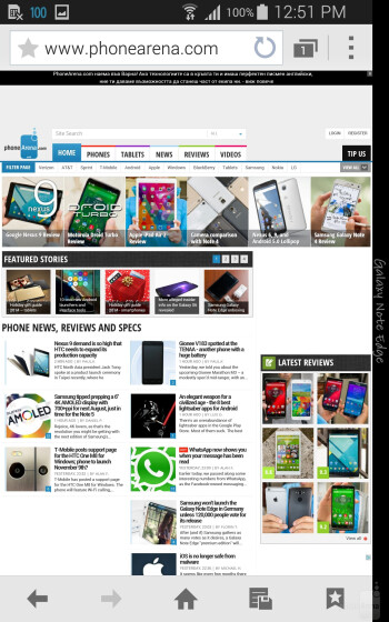 Samsung Galaxy Note Edge - Browsing the web - Samsung Galaxy Note Edge vs LG G3