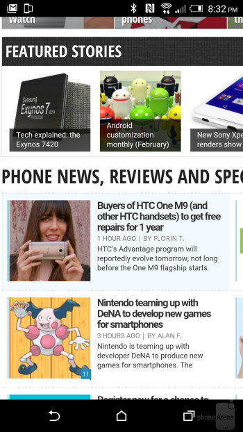 Chrome browser on the HTC One M9 - HTC One M9 vs HTC One M8