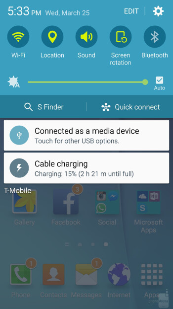 The streamlined TouchWiz UI on the Galaxy S6 edge - Samsung Galaxy S6 edge vs Samsung Galaxy S5