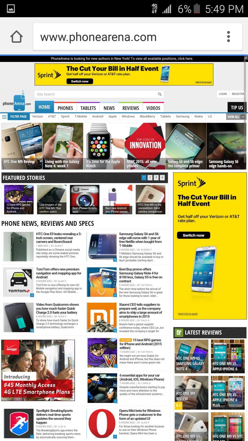 Samsung Galaxy S6 edge - Web browsing - Samsung Galaxy S6 edge vs Apple iPhone 6