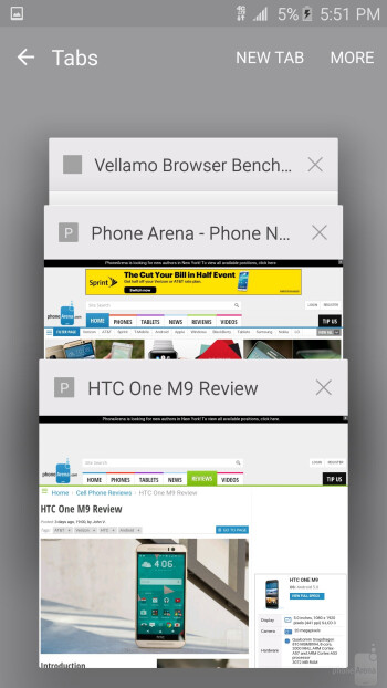 Chrome on the HTC One M9 - Internet browsing - LG G4 vs HTC One M9