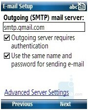 E-mail setup - HP iPAQ 510/514 Voice Messenger Review
