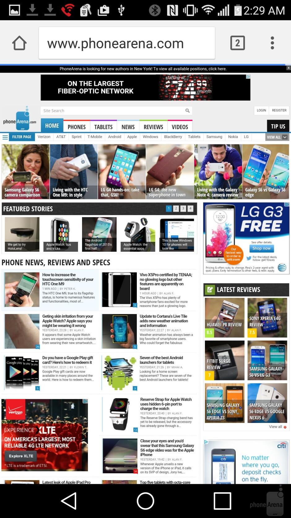 LG G4 - Internet browsing - LG G4 vs HTC One M9