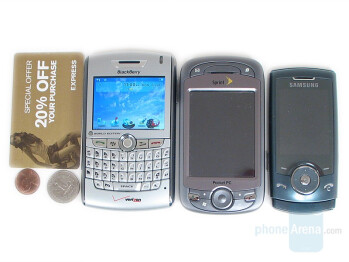 Left to Right and Bottom to Top - RIM 8830, HTC Mogul, Samsung U600 - RIM BlackBerry 8830 Review