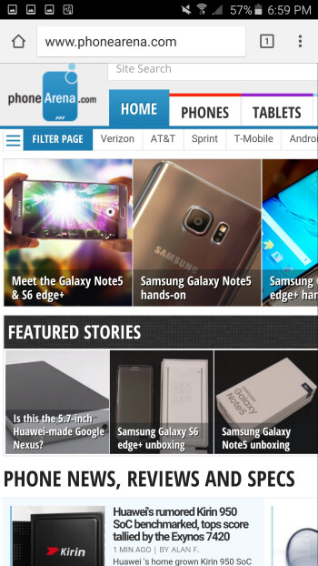 Internet browsing - Apple iPhone 6s Plus vs Samsung Galaxy Note5