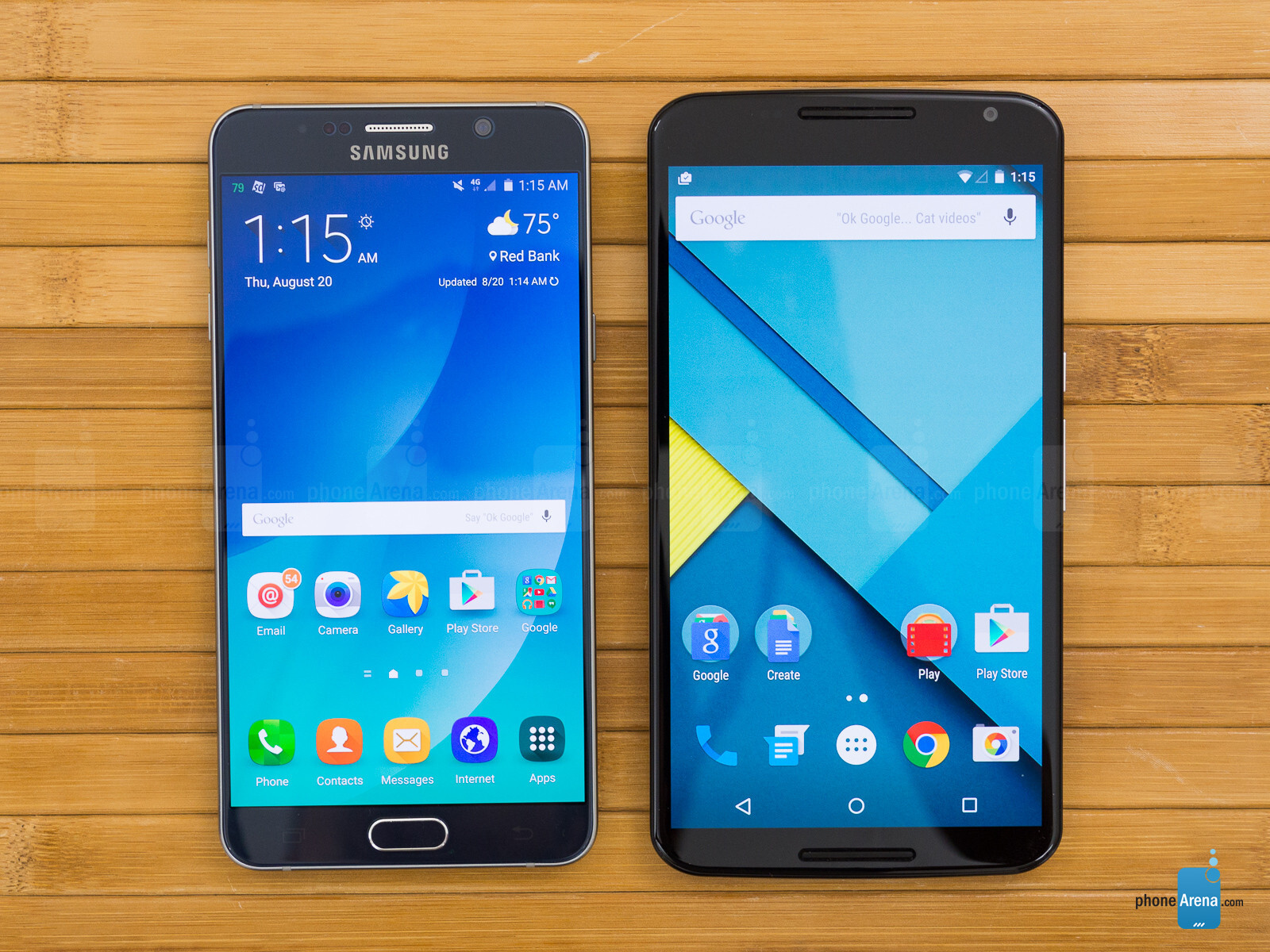 Samsung Galaxy Note5 vs Google Nexus 6 - PhoneArena