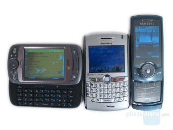 From left to right and bottom to top - HTC Mogul, BlackBerry 8830, Samsung U600 - HTC Mogul Review