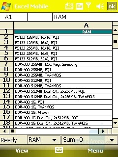 Excel sheet - HTC Mogul Review