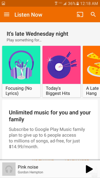 The Google Play Music app on the Galaxy S7 - Music players - Samsung Galaxy S7 vs LG G4
