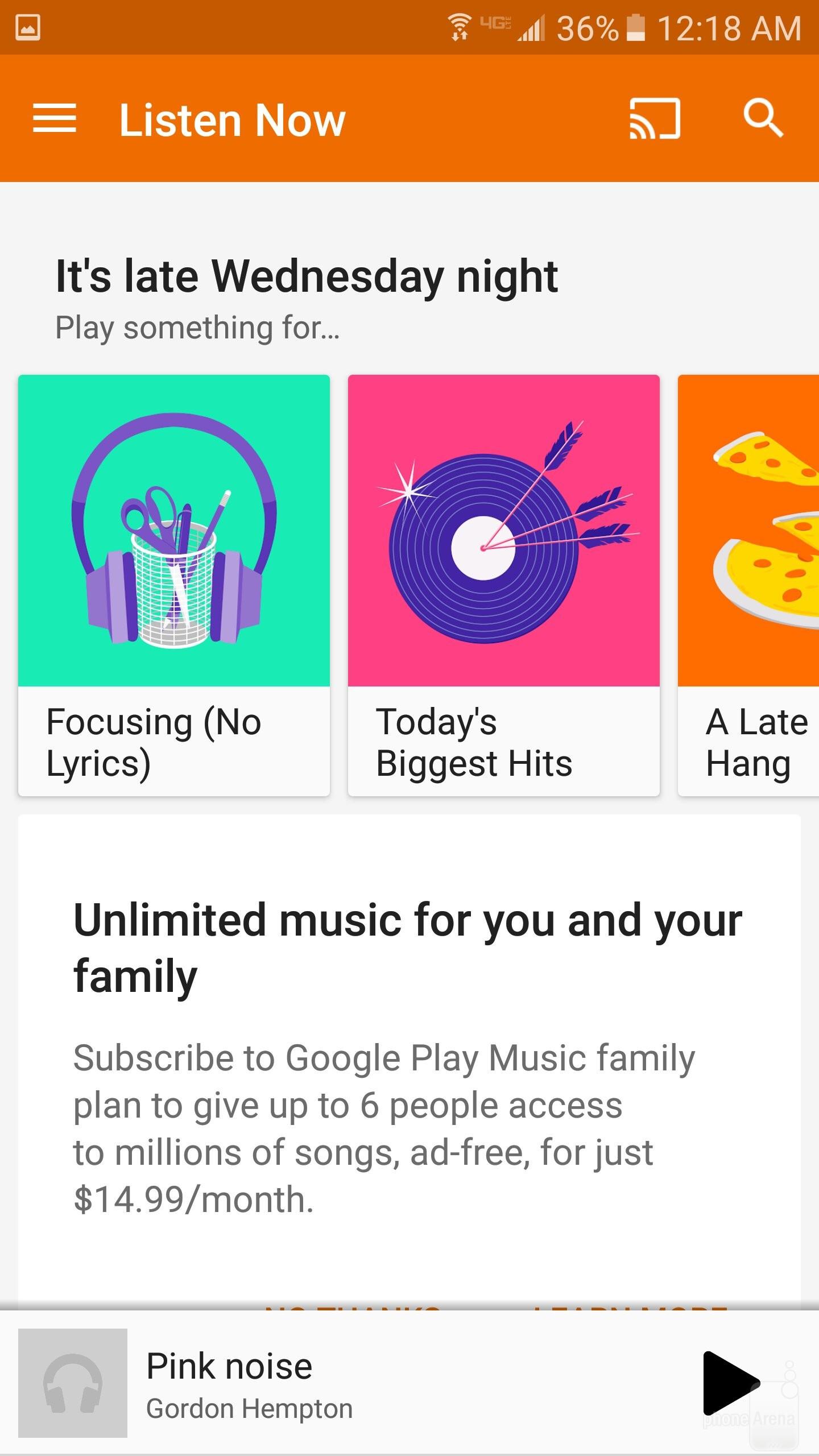 The Google Play Music  app