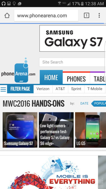 Browsing the web with the Galaxy S7 edge - Samsung Galaxy S7 edge vs Samsung Galaxy S6 edge+