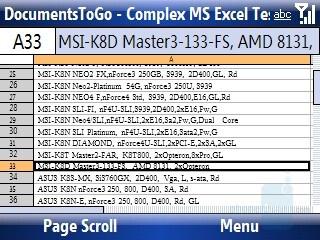 Excel sheet - Motorola Q9h Review